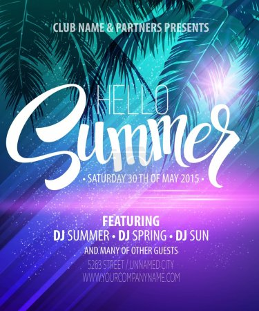 Illustration for Hello Summer Beach Party Flyer. Vector Design EPS 10 - Royalty Free Image