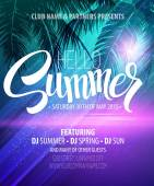 Hello Summer Beach Party Flyer Vector Design