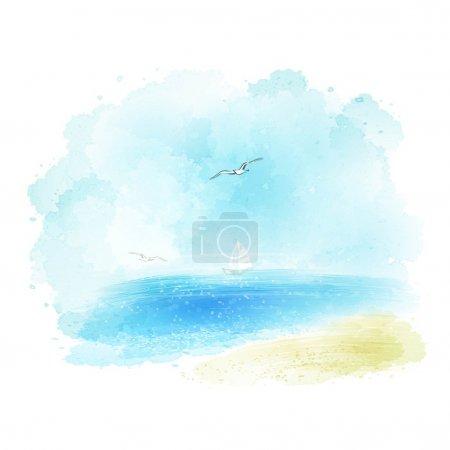 Illustration pour Fond vectoriel d'un paysage marin aquarelle EPS 10 - image libre de droit