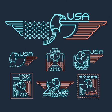 Illustration for Made in the USA Symbol with  American flag and eagle Set of templates emblems. Vector illustration EPS 10 - Royalty Free Image