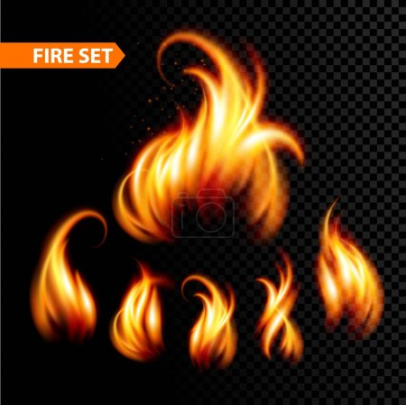 Illustration for Set of realistic fire. Vector illustration EPS 10 - Royalty Free Image