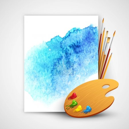 Illustration for Realistic brush and palette on blue watercolor background EPS 10 - Royalty Free Image