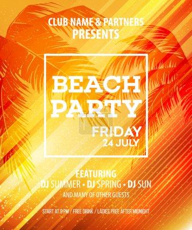 Summer Beach Party Vector Flyer Template