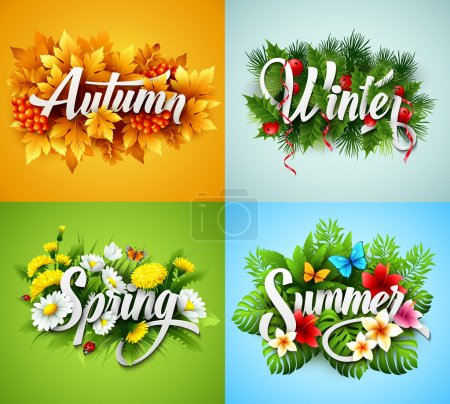 Illustration for Four Seasons  Typographic Banner. Vector illustration EPS 10 - Royalty Free Image