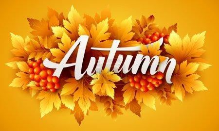 Illustration pour Typographie d'automne. Feuille d'automne. Illustration vectorielle SPE 10 - image libre de droit