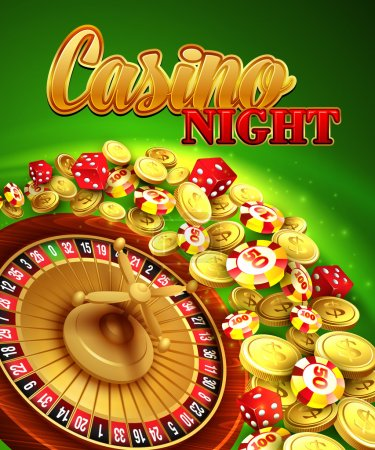 Illustration for Casino night. Vector Illustration with roulette, coins EPS 10 - Royalty Free Image