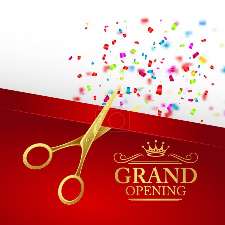 Illustration for Grand opening illustration with red ribbon and gold scissors EPS 10 - Royalty Free Image