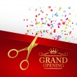 Grand opening illustration with red ribbon and gol...
