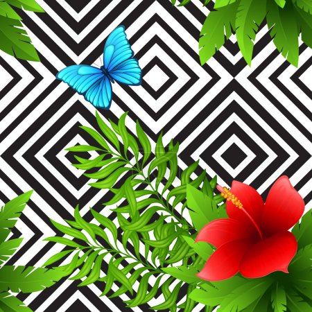 Illustration for Vector hibiscus and palm leaves tropical pattern with blue butterfly, black and white geometric background  EPS 10 - Royalty Free Image