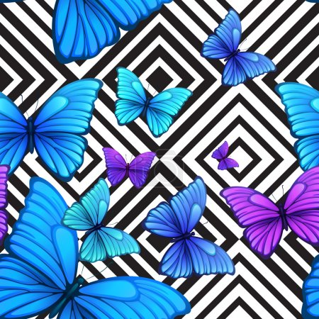 Vector seamless pattern with blue butterfly, black and white geometric background