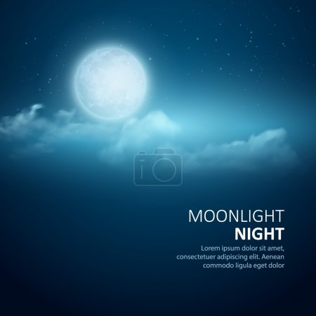 Illustration for Night vector background, Moon, Clouds and shining Stars on dark blue sky. EPS 10 - Royalty Free Image