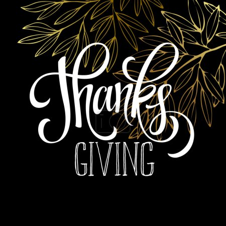 Illustration for Thanksgiving - gold glittering lettering design. Vector illustration EPS 10 - Royalty Free Image