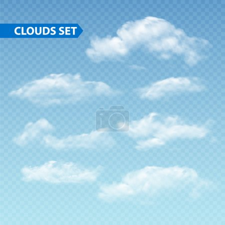 Illustration for Set of transparent different clouds. Vector illustration EPS 10 - Royalty Free Image