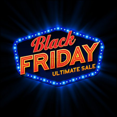 Black Friday retro light frame. Vector illustration