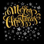 Veselé Vánoce zlato, třpytivé nápisy designu. Vektorové ilustrace
