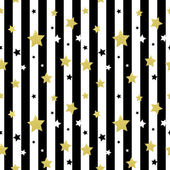 Black white and gold stars seamless patterns Vector illustration EPS 10