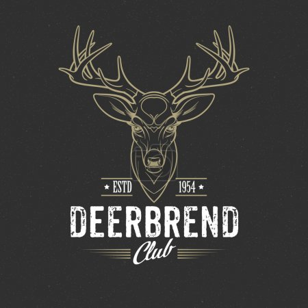 Illustration for Deer head Design Element in Vintage Style. Vector illustration EPS 10 - Royalty Free Image