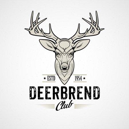 Deer head Design Element in Vintage Style. Vector illustration.