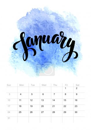 Calendar with watercolor paint 2016 design. Vector illustration