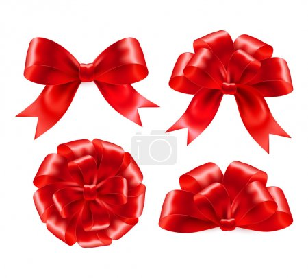 Illustration for Set of red gift bows with ribbons. Vector illustration EPS 10 - Royalty Free Image
