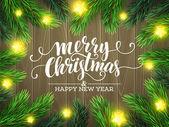 """Постер, картина, фотообои """"Рождественская елка ветви границы. Векторные иллюстрации"""""""