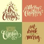 Merry Christmas Lettering Design Set Vector illustration EPS10