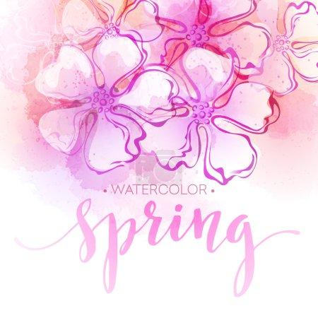 Illustration pour Aquarelle printemps fond de fleur. Illustration vectorielle EPS10 - image libre de droit