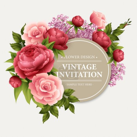 Illustration for Vintage  Greeting Card with Blooming Flowers.  Vector Illustration EPS10 - Royalty Free Image
