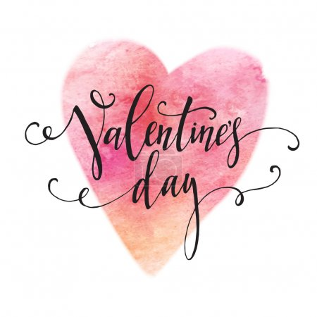 Handwritten Valentines Day calligraphy on red grungy watercolor stain background.  Vector illustration