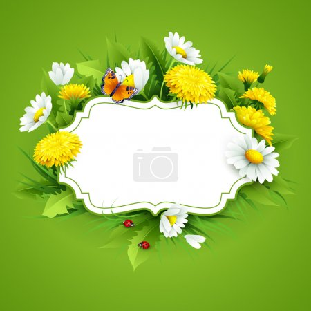 Illustration for Fresh spring background with grass, dandelions and daisies. Vector - Royalty Free Image