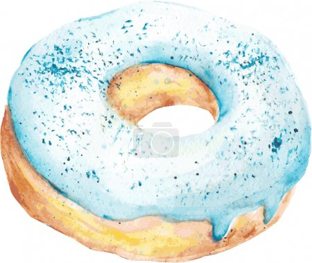 Isolated watercolor blue donut. Vector Illustration.