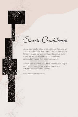 Illustration for Sincere condolences vector lettering in abstract style, place for text - Royalty Free Image