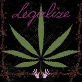 Colorful image of Cannabis leaves barbed wire hands scratches and word Legalize in abstract art style done in a slightly psychedelic manner