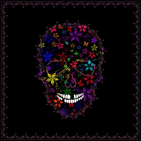 Vector image of Human Skull and Marijuana leaves in abstract art style, done in a slightly psychedelic manner