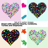 Heart with colorful Hearts CondomsTurtles and Elephants