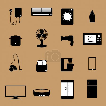Home electronic appliance icons