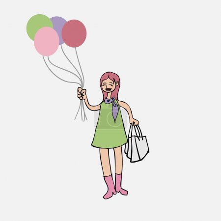Girl with balloons and shopping bags