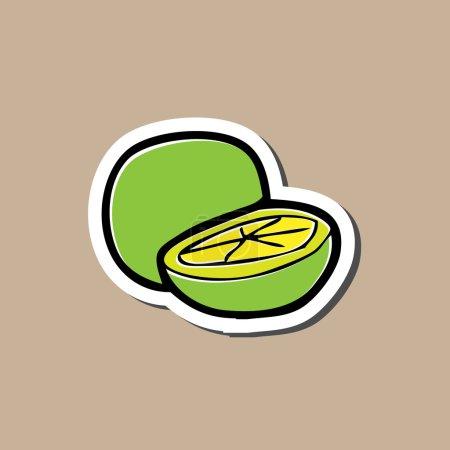 Illustration pour Sticker citron bande dessinée tampon de dessin - image libre de droit