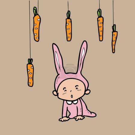 Illustration pour Robe de lapin garçon affamé fixe sur les carottes - image libre de droit