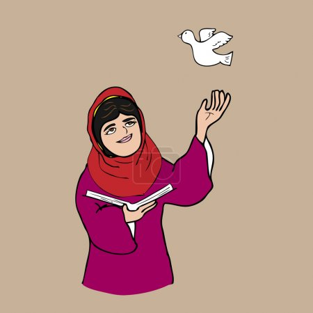 Illustration for Muslim girl book and peace cartoon vector illustration - Royalty Free Image