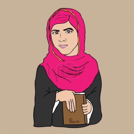 Illustration for Muslim girl book and peace cartoon vector - Royalty Free Image