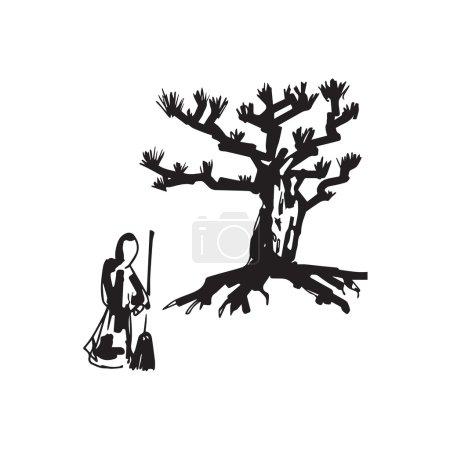 Zen priest sweep garden drawing