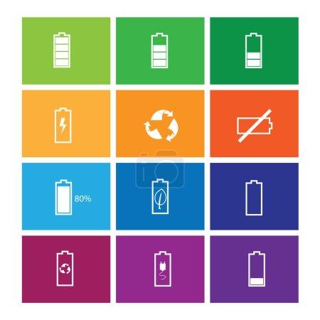 Battery status icons set