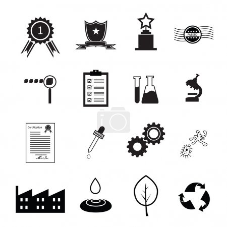 Illustration for Quality control icons set vector - Royalty Free Image
