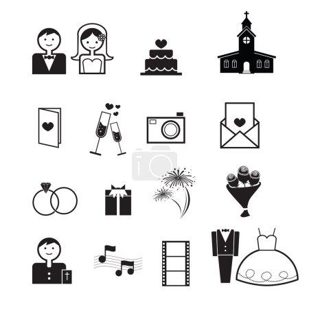 Wedding ceremony icons vector