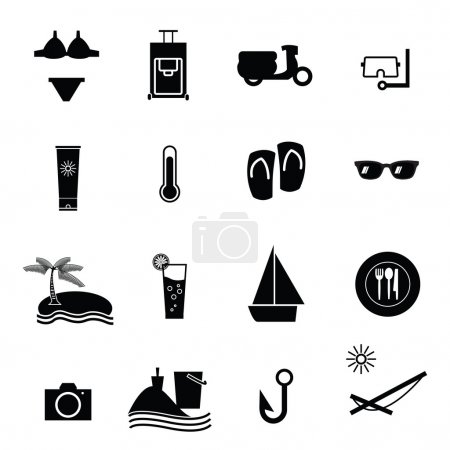 Summer vacation icons set