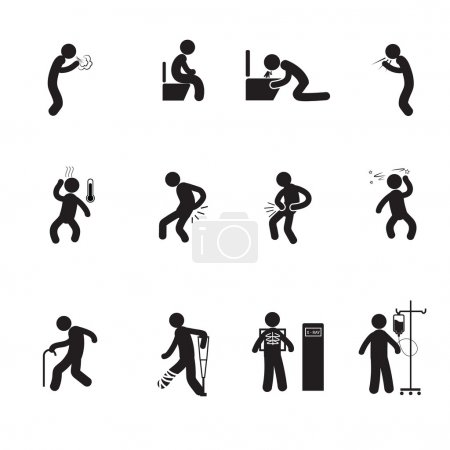 Illustration for People sick icons set vector silhouette - Royalty Free Image