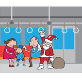 Christmas People in subway isolated 1