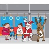 Christmas Santa and reindeer in subway cartoon vector