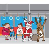 Christmas Santa and reindeer in subway cartoon